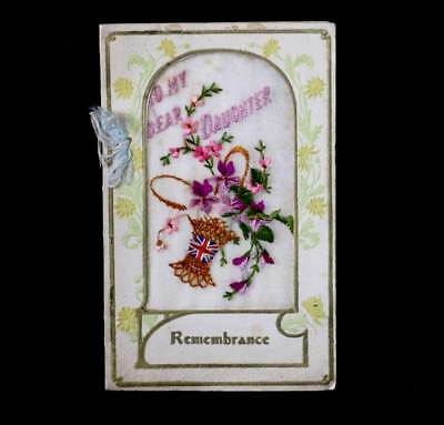 Antique 1918 To My Dear Daughter embroidered silk Remembrance card