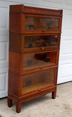 4 Antique Stacking Art Mission Globe Wernicke Barrister Bookcases w/ Base & Top