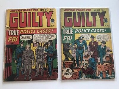 Justice Traps The Guilty #6 & 7 True Fbi Police Cases Prize Pre-Code Crime 1948