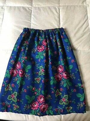 Vtg Cepelia Polish Folk Costume Krakow Tybet Wool Blue Multicolor Flowers Skirt