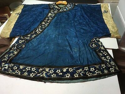Antique Vintage Blue Japanese Chinese Asian Robe Gown Kimono Embroidered Silk