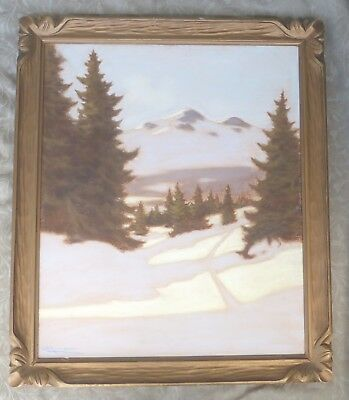 1940'S Halfred Tygesen B 1890 Canadian Listed Quebec Winter Pastels Painting