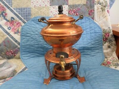 Heinrichs Samovar Copper Brass Wood Antique Coffee Pot Urn Paris NY RARE EX