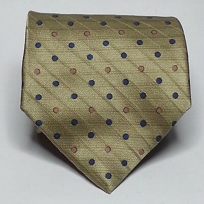 "Perry Ellis Portfolio Men Silk Dress Tie 3.75"" wide 58"" long Necktie Gold Dots"