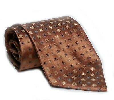 "Perry Ellis Portfolio Men Silk Dress Tie Brown With Geometric Print 3.75"" Wide"