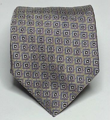 "KOLTE Italy Men Silk Dress Tie Hand Made in Italy 3.75"" Wide 60"" Long Gold"