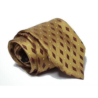"Ermenegildo Zegna men dress silk gold tie Made in ITALY 3.75"" wide 57"" long"