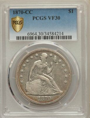 1870-CC  SEATED LIBERTY DOLLAR - PCGS VF30 --(first coins struck in Carson City)