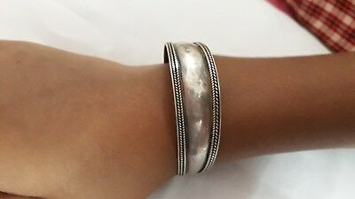 Handmade 92.5 Sterling Silver Rajasthan Tribal Flexible Adjustable Bracelet*