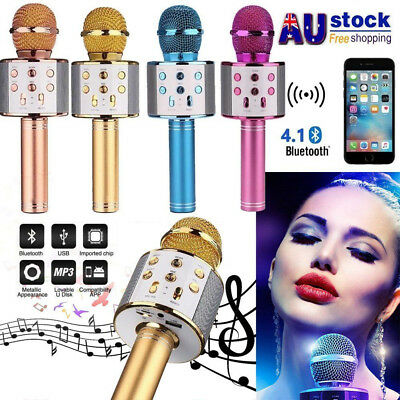 Q9 Wireless Bluetooth Karaoke Microphone Speaker Handheld Mic USB Player AU