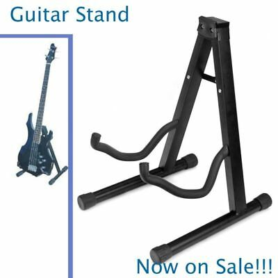 Guitar Stand Folding Electric Acoustic Bass Guitar Stand Floor Rack Holder Black
