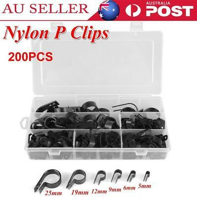 200Pcs 5-25mm Nylon Plastic P Clips Clamp Assortment Kit for Wire Cable Pipe AU