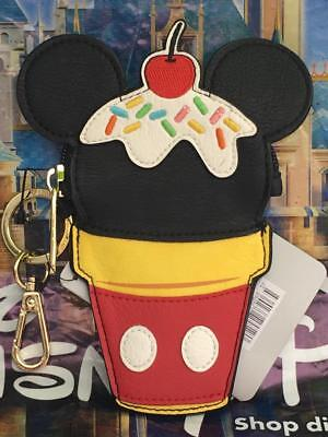 Disney & Loungefly Mickey Mouse Ice Cream Cone Keychain Case Coin Purse Pouch