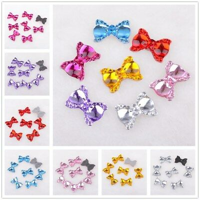 100Pcs 13mm*19mm Resin bow Flatback Appliques/Wedding decoration /craft DIY
