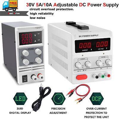 5A 15V 30V 10A DC Adjustable Power Supply Precision Variable Digital Lab Grade