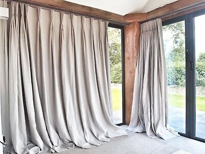 Luxury Heavy Quality 100% Linen Flax Blackout Thermal GREY 3.05m LONG CURTAINS