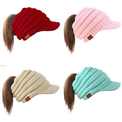 Women Messy Bun Ponytail Stretch Knit Hat Beanie Hat Warm Hole Hat Ski Skull Cap