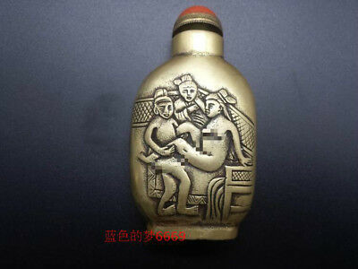Collectible China Old Handwork Copper Carved MAke Love Snuff Bottle Erotic