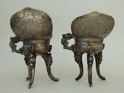 Two Antique Chinese Export Silver Archaic Jue Wine Vessels Hand Chased Qing Era