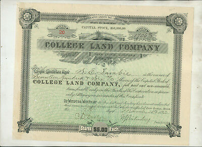 1892 College Land Company Deer Lodge Montana Stock Certificate Issue #20