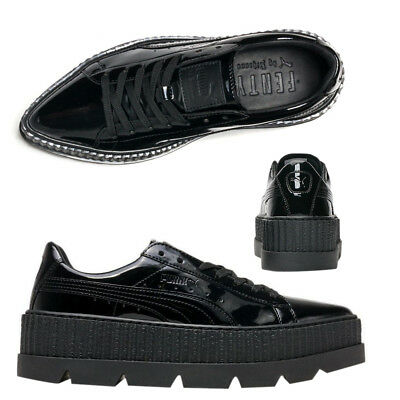 buy online b8dc8 f4696 Puma X Fenty By Rihanna Pointy Creeper Lace Up Black Patent Womens Trainers  D56