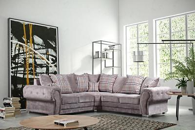 Verona Fabric Corner Sofa Group Large 3 2 1 Grey Mink New Suite