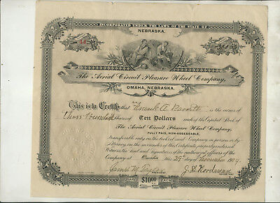 1904 Aerial Circuit Pleasure Wheel Company Nebraska Stock Certificate #44