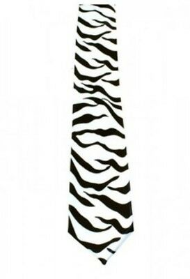 Unisex Novelty Fancy Dress Black & White Zebra Animal Print Skinny Tie Brand New