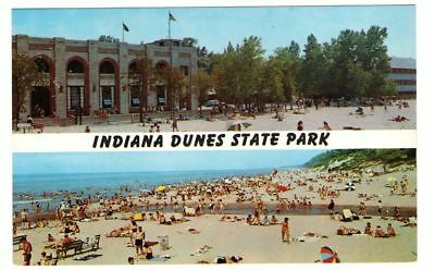 Undated Unused Postcard Indiana Dunes State Park Chesterton In 2 Views Beach