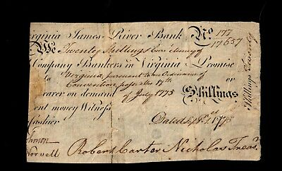 Virginia - September 1, 1775 - 20 Shillings