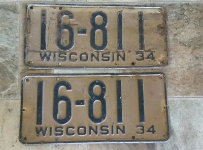 1934 Wisconsin License Plate Plates Pair Wi Match Set Antique Vintage Rare Wis