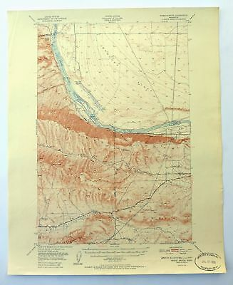 Priest Rapids Washington Vintage 1951 USGS Coumbia River Topo Map