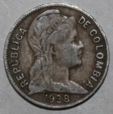 Colombian 2 Centavos Coin, 1938 P (Philadelphia) - KM# 198 - Colombia Two