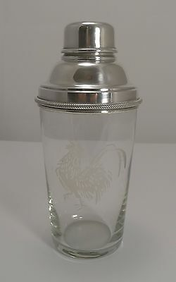 Vintage English Glass and Silver Plate Cocktail Shaker - Rooster, c.1930
