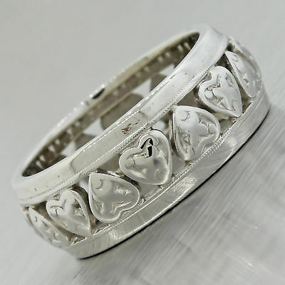 1930s Ladies Antique Art Deco 14k Solid White Gold Wedding Band Ring w/ Hearts