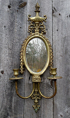 Antique Vintage Floral Cast Brass Beveled Oval Wall Mirror 2 Arm Candle Sconce
