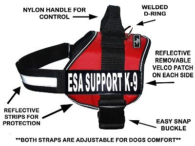 Doggie Stylz ESA Dog Harness Vest Nylon for Small Medium Large 2 Free patches