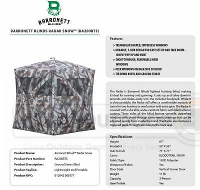 RA200BTS NEW Barronett Blinds Radar 2-Person Hub Blind Bloodtrail Snow Camo
