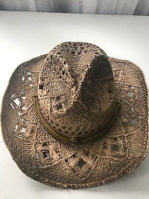 0f865586880253 Peter Grimm Straw Round Up Authentic Cowboy Hat w/ Moisture Wicking Band