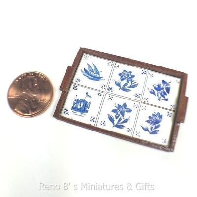Dollhouse miniatures 1:12 Wooden Tray with Blue Delft Tile Decorations