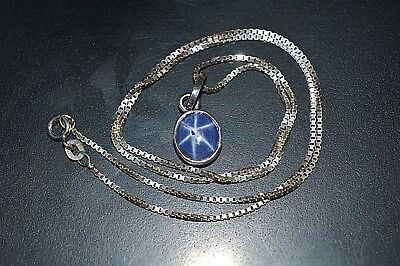 """925 Solid Sterling Silver Box Chain 18"""" Natural Star Sapphire Stone Pendant 5 CT"""