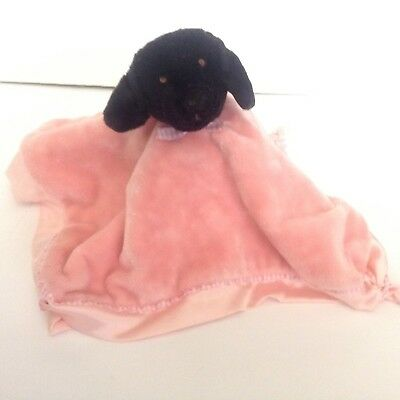 The Black Dog Pink Security Blanket Lovey Satin Embroidery Knots Tail