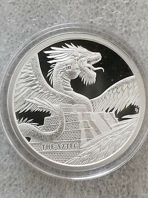 THE AZTEC,  World Of Dragons Series 1 oz. .999 SILVER Quetzalcoatl Rattle Snake.