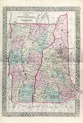 Antique Vermont and New Hampshire State Map (1877)