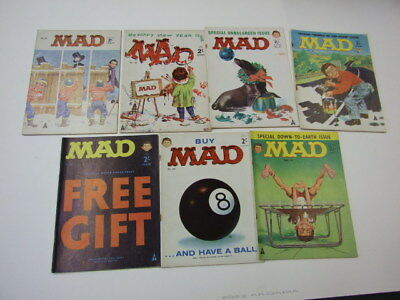 Mad Magazine UK Comic 7 issues numbers 35 42 44 45 47 49 50 1960s