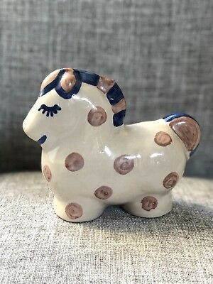 M.A. Hadley Stoneware Horse Coin Bank Handcrafted American Pottery Signed
