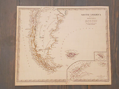 Antique Map of South America - Patagonia (pre Argentina and Chile) 1838 SDUK