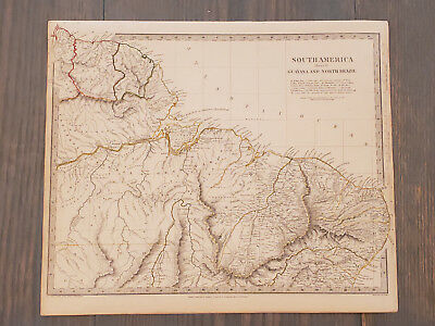 Antique Map of South America - Guyana and North Brazil SDUK 1836