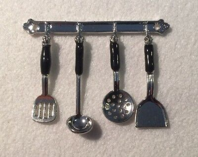 Dolls House Miniature 1/12th Scale Silver/Black Coloured  Kitchen Utensils