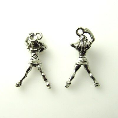 Cheerleader with Megaphone - 5 Lead Free Antique Silver Tone Pewter Charms